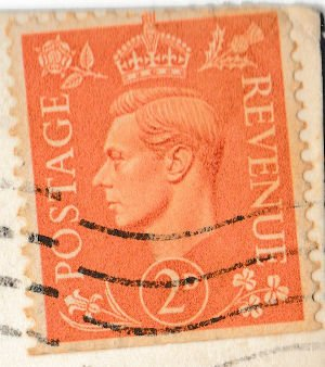 English Two Penny Postal Stamp featuring King George VI