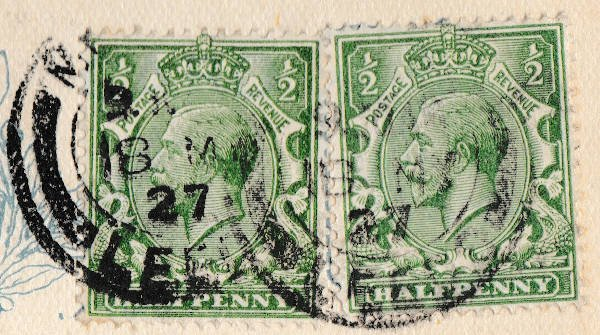 English Two Half-Penny Postal Stamp featuring King Edward VII